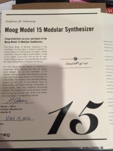Moog Model 15 Thank You